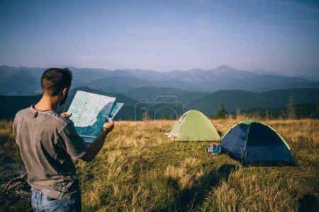 Man in camp in Carpathian Mountains