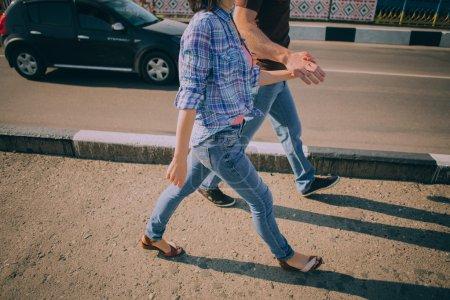 Couple walking in urban area