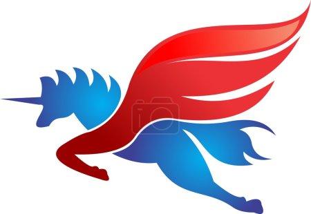 unicorn horse flying red logo
