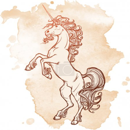 Rearing unicorn on white background