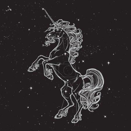 Rearing unicorn on white background