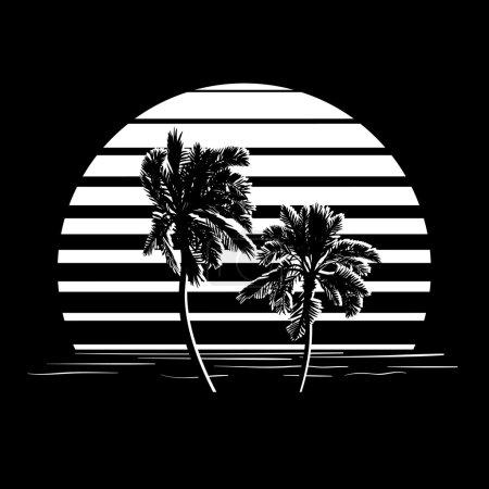 Illustration pour Design vacances d'été. Coucher de soleil tropical. Silhouettes de palmiers sur rayures noires et blanches. Logo de style minimaliste. Illustration vectorielle EPS10 . - image libre de droit