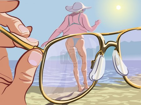 Illustration for Comic illustration of the modern men attitude to the beauty standards. Man looking at the obese lady through the magic glasses which make her look young and slim. EPS10 vector illustration. - Royalty Free Image