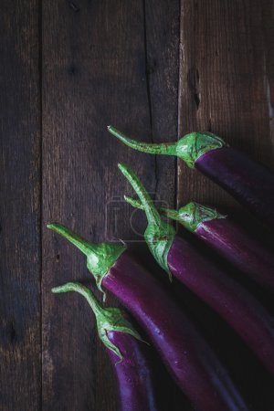 Purple eggplants group