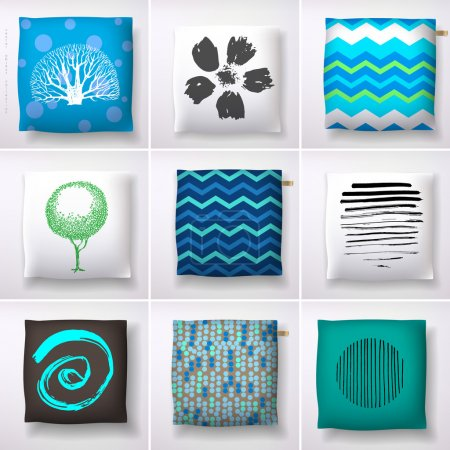Illustration for Realistic 3d throw pillow models with different prints and patterns. Apartment interior design elements set, vector illustration - Royalty Free Image