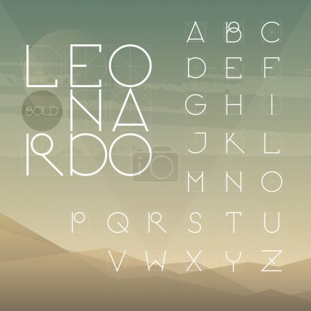 Illustration for A to Z alphabet.Leonardo font collection. - Royalty Free Image