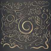 Hand drawn decorative curls and swirls collection Vintage vector design elements Ink illustration