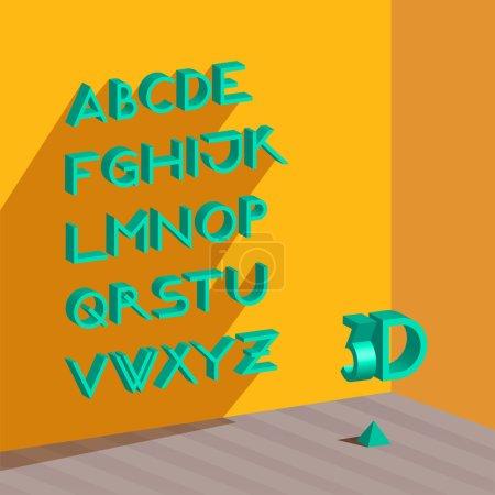 Illustration for 3d isometric alphabet.,vector illustration - Royalty Free Image