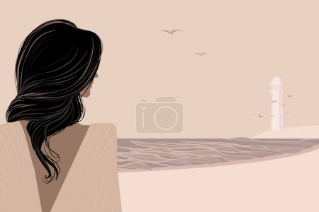 Illustration pour Femme aux cheveux longs debout sur le bord de la mer. Vue de derrière. Illustration du jour d'été. Peut être utilisé comme arrière-plan et dispose d'un espace approprié pour un texte . - image libre de droit