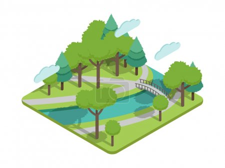 Isometric park bridge vector illustartion with trees, river, bridge, alleys. Park avenue or park alley in isometric view. Park bridge and other park elements flat isometric style. Park green. Park in spring isolated isometric infographic in city