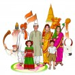 Vector design of Maharashtrian family showing cult...