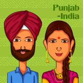 Punjabi Couple in traditional costume of Punjab India
