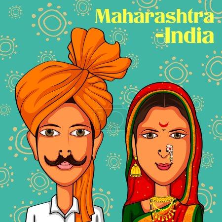 Vector design of Maharashtrian Couple in tradition...