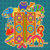 Culture of Rajasthan in Indian art style