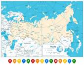 Russian Federation detailed map and colorful map pointers