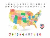USA map with flag and navigation icons