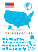 Map of USA with it's states and flat map pointers