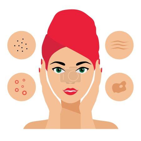 Facial Care, Skin Defects, Problems, Acne, Seborrhea, Seborrheic Dermatitis, Wrinkles, Dark Spots. icons. Cosmetologist, Dermatologist.