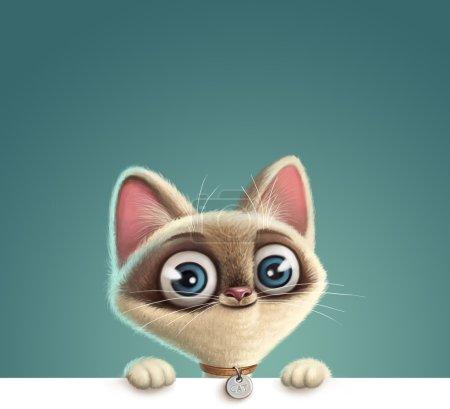 Photo pour Illustration d'un chaton drôle. Conception de bannière - image libre de droit