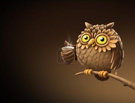Night owl with coffee. Illustration
