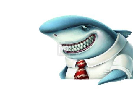 Illustration of business shark smiles slyly, carto...