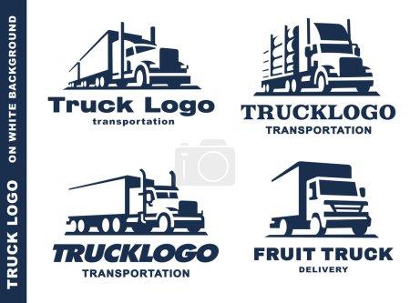 Illustration pour Ensemble de quatre logo avec camion et remorque sur fond blanc . - image libre de droit