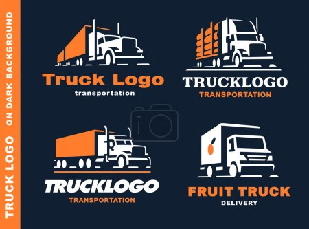 Set of four logo with truck and trailer