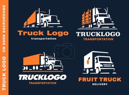 Illustration pour Ensemble de quatre logo avec camion et remorque sur fond sombre - image libre de droit