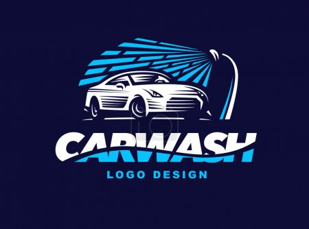 Logo car wash on dark background.
