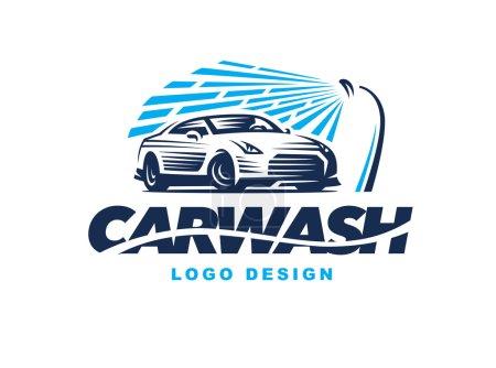 Illustration pour Logo design lavage de voiture sur fond clair . - image libre de droit