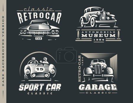 Illustration pour Illustrations de logos de voiture classiques sur fond sombre . - image libre de droit