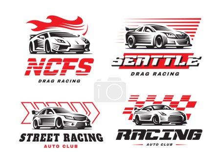 Illustration for Sport cars logo illustration on white background. Drag racing. - Royalty Free Image