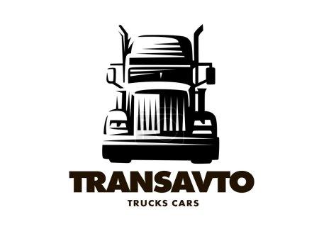 Illustration pour Logo illustration camion, vue de face, fond blanc - image libre de droit