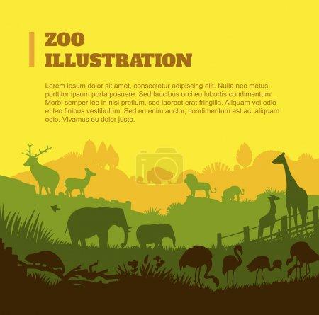 Illustration pour Zoo monde illustration fond, silhouettes colorées éléments, design plat - image libre de droit