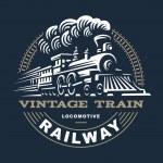 Locomotive logo illustration, vintage style emblem...