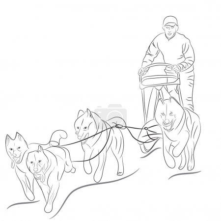 Hand drawn dogs pulling sled