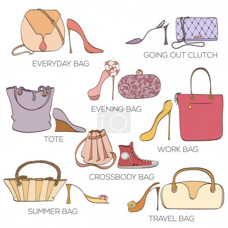 Set of women bags ans shoes.