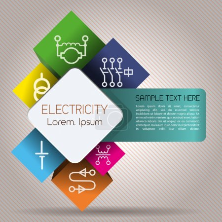 Illustration for Abstract infographics depicting elements of electrical power network - Royalty Free Image