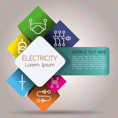Abstract infographics depicting elements of electrical power network