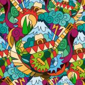 Seamless bright pattern in Mexican style
