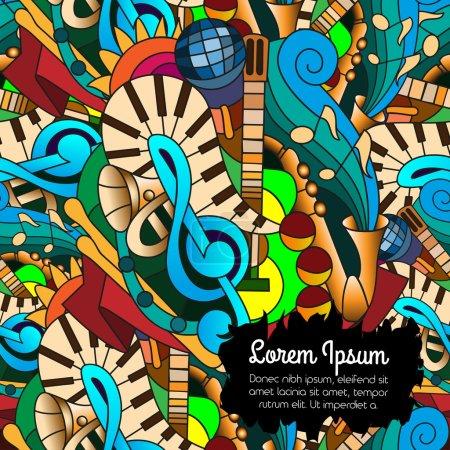 Illustration pour Dessins lumineux motif sans couture avec des instruments de musique dessinés à la main. Contexte pour la conception web, papier peint, couvertures, livrets . - image libre de droit