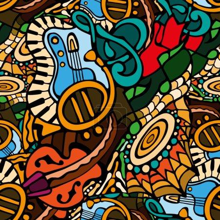 Illustration pour Vecteur lumineux gribouille motif sans couture avec des instruments de musique dessinés à la main. Modèle de fond pour la conception web, papier peint, couvertures, livrets . - image libre de droit