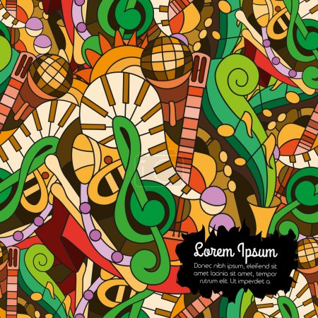Illustration for Bright vector doodles seamless pattern with hand drawn musical instruments. For web design, wallpaper, covers, booklets. - Royalty Free Image