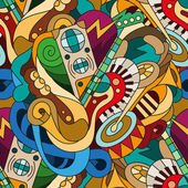 Seamless pattern with doodle musical instruments