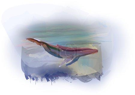 Illustration pour Grande baleine à aquarelle nage sur fond de ciel couvert . - image libre de droit