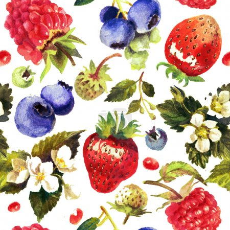 Photo for Berries isolated on white background. Watercolor painting, pattern, print. Blueberry, raspberry, strawberry - Royalty Free Image