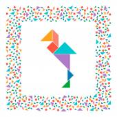 Tangram heron solution card for Chinese puzzle game