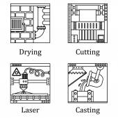 a set of four images of technological manufactures chemical or h