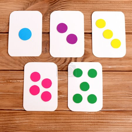 A set of flash cards to teach number and colors. How to make educational flashcards for kids at home. Early child development. Cardboard crafts idea. Step. Top view