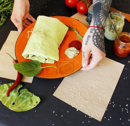 Woman cooking vegetarian falafel